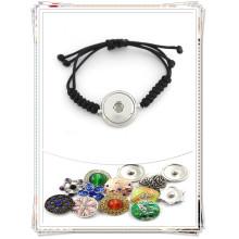 Последние поощрения Подгонянные кнопки Snap Button Wope Woven Bracelets