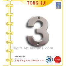 Silber Buchstabe 3 Metall Ornament / dekoratives Logo
