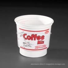 Tasses de milkshake jetables rondes en plastique blanc de catégorie comestible aux prix alimentaires 7oz