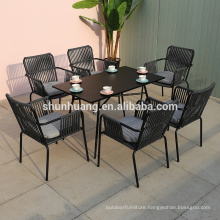 Water proof outdoor patio  rope furniture sets garden rope dining chair and coffee table