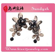 pendientes de gota largos hermosos de lujo hechos a mano al por mayor cristalinos hechos a mano de la flor para el partido