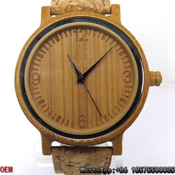 Reloj de cuarzo de bambú carbonizado de calidad superior Hl18