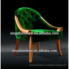 Silla de sofá redonda de lujo de tela verde XY2479