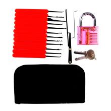 Cadeado Praticar Transparente Vermelho com Saco de Lona 15 PCS Lockpicking Ferramentas Caixa de Silicone Vermelho (Combo 6-2)