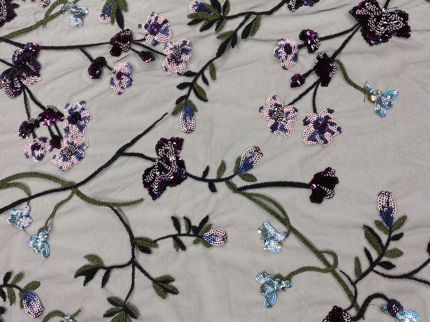 Poly Mesh Multicolor Embroidery Fabric