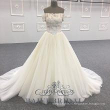 Изготовленный на заказ Белый цветок Принцесса длинные вечерние одежда с плеча выпускного вечера платье