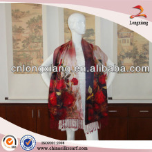 Winter Women Rose Flower Printed Floral Custom-made Printed Shawls Cheap Pashmina