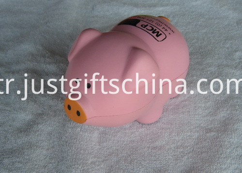 Printed PU Pig Stress Reliever Ball - Pink (2)