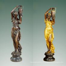Femme Bronze Jardin Sculpture Classique Lady Art Laiton Statue TPE-477/516