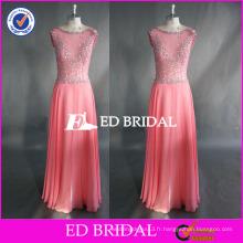 ED Beaded Pink Bead Work Cap Manche à manches longues en mousseline de soie à glissière Retour Long Robe de bal