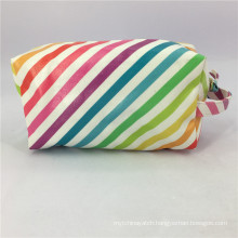 Multicolor Strip Makeup Bag For Women Outdoor Travel Toiletry Bag Girls Daily Usage Rainbow Cosmetic Bag