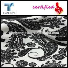 impressão fio tingido tecido de 100% algodão/Spandex slub impresso tecidos/preto e branco impressão telas de desenho