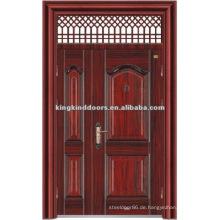 Doppeltür Blatt Design Stahl Sicherheits-Tür mit Fenster oben KKDFB-8010 aus China Top 10 Marken
