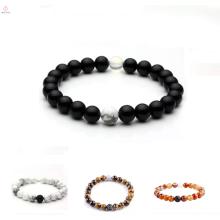 2017 mode naturel blackstone pierre lava-rock naturel blanc bracelet en pierre pour les jeunes