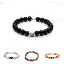 2017 fashion natural blackstone stone lava-rock natural white stone bracelet for young people