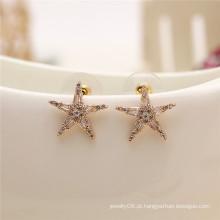 Simples moda brilhante handmade gregos jóias acessórios pentagrama cz stud brinco