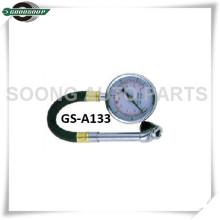 Chuck de cabeça dupla Dial tipo de medidor de pressão de pneu com mangueira flexível