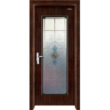 Puerta de madera de acero con vidrio