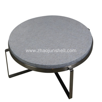 CANOSA Chinese Fresh Water Shell Covered Coffee Table with Sliver Stainless Steel