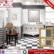 горячая продажа 300x450 фарфор черный и белый пол стены плитка для ванной комнаты