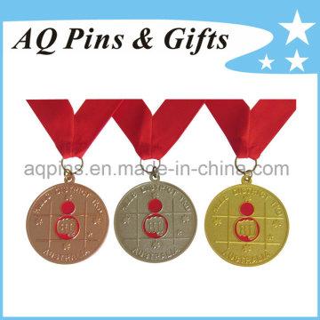 Medalha de liga de zinco em chapeamento diferente com fita vermelha
