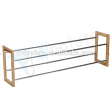 High Quality Metal with Wood Frame Home Shoes Rack,Wooden Shoes Racking