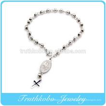 Pulsera religiosa de pulido brillante de alta calidad diseño pulsera de rosario de rosario de 6 mm de acero inoxidable con Jesús al por mayor