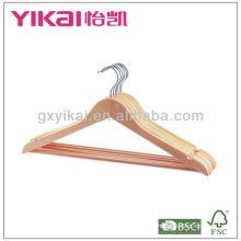 Natural Colour Cabide de madeira da camisa com entalhes de U, com a barra redonda eo tubo antiderrapante do PVC, o tubo pode ser transparente