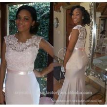 Wholesale Good Quality New Cheap Lace formal Cap Sleeve Mermaid Long Bridesmaid Evening Dresses LB46