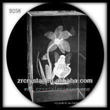 Flor de narcisos láser 3D K9 dentro del bloque de cristal