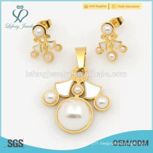 New arrival accessories pearl sets jewlery, steel fashion jewelry sets for gifts