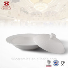 Fine white ceramic soup tureen for hotel, porcelain tureen with lid
