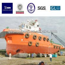 Type d'exportation pneumatique gonflable navire airbag en caoutchouc