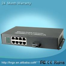 Fiber to 8 port rj45 ethernet switch 10/100/1000M EPON media converter sm mm fiber converter