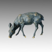 Animal Brass Statue Deer Eating Grass Bronze Sculpture Tpal-029