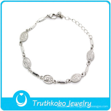 """TKB-B0072 """"Virdin Mary blessing you""""christain jewelry Baby Girl wrist Chain silver bracelets for women"""