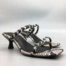 Early spring new sandals snake pattern low-heeled slippers Roman holiday shoes 2020 heels