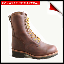 BROWN GOOD YEAR WELTED LOGGER BOOTS WITH STEEL TOE WORK BOOTS
