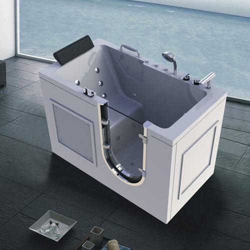 Acrylic Material Walk-In Whirlpool Bath Tub with Powered Fast Drain