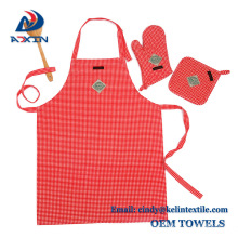 100% cotton promotional kitchen apron oven glove set and pot holder 100% cotton promotional kitchen apron oven glove set and pot holder