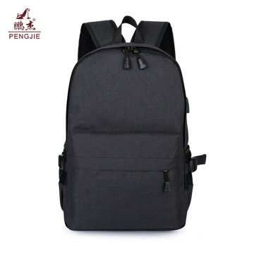 Gray School Anti Theft Bag USB Charging Backpack