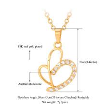 Saint Valentin cadeau 2015 Unique cœur strass plaqué or 18K/platine Fashion Bijoux Pendentif gros colliers pour femmes
