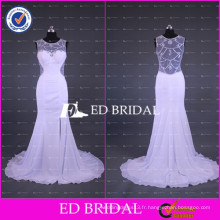 2017 ED Robe de mariée en mousseline de soie blanche en robe de mariage avec vis à vis
