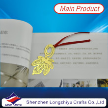 Etching Metal Hollow Leaf Ribbon Craft Gold Plated Bookmark