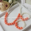 Baby meisje peuter imitatie parel ronde Chunky parel ketting