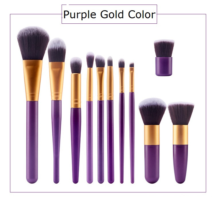 11 Stück Gold Nylon Haar Makeup Pinsel Kit