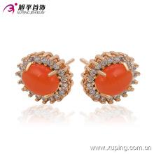 Moda Elegante Grande Pedra Vermelha CZ Imitação de Jóias Brinco Studs em Banhado A Ouro 18k 91215