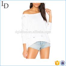 Sudaderas con capucha de algodón al por mayor de la moda en dificultades con cremallera media trasera