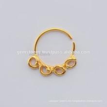 Hecho a mano Oro chapado fabricante de la joyería, étnico Septum Anillo de la nariz de plata