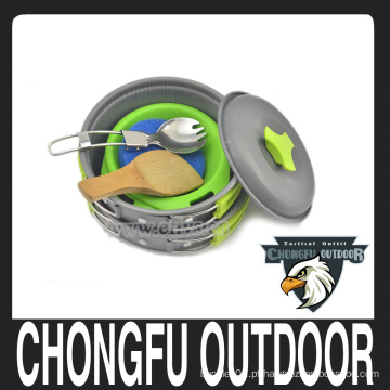 Atacado ao ar livre Pan verde e laranja e pot panelas definido para camping e caminhadas
